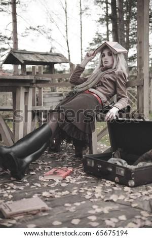 fashion autumn girl portrait - stock photo