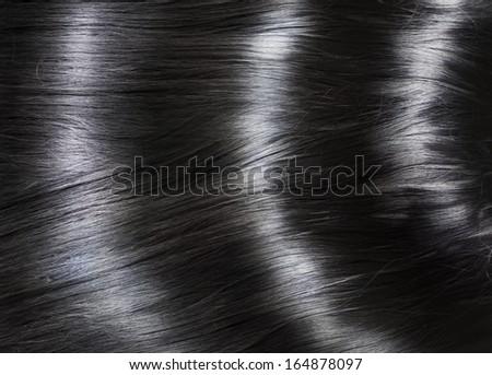 Fashion background with long shiny black hair - stock photo