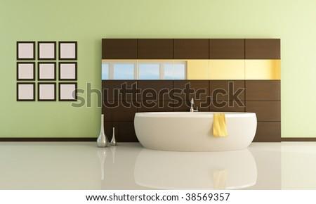 fashion bathtub in a minimal bathroom - rendering - stock photo
