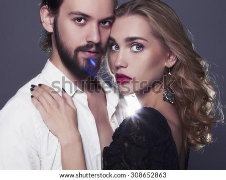 fashion beautiful couple.stylish woman and man.beauty girl and boy together.love,valentine - stock photo
