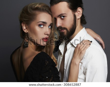 fashion beautiful couple.stylish woman and man.beauty girl and boy together.love,valentine - stock photo