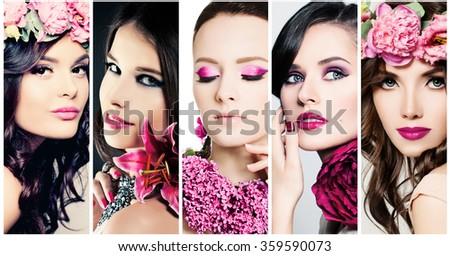 Fashion Beauty Faces. Set of Women. Purple Colors Makeup - stock photo
