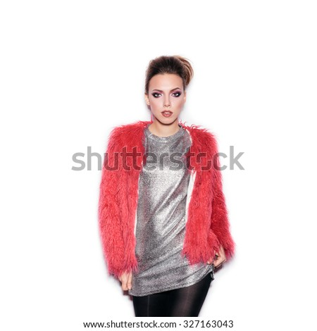 Fashion Beauty Girl. Gorgeous Woman Portrait. Stylish Haircut and Makeup. Hairstyle. Make up. Sexy Glamour Girl on White background no isolated - stock photo