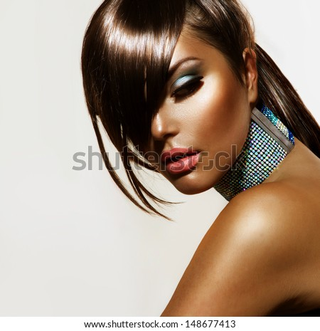 Fashion Beauty Girl. Gorgeous Woman Portrait. Stylish Haircut and Makeup. Hairstyle. Make up. Vogue Style. Sexy Glamour Girl - stock photo