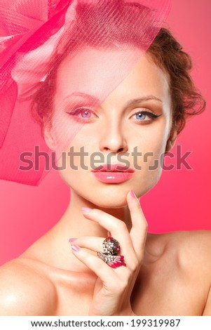 Fashion beauty model with make up and pink lips manicure - stock photo