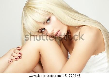 Fashion beauty portrait with white  hair.  Fashion model posing at studio. - stock photo