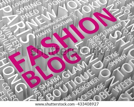 Fashion blog word cloud 3d illustration. - stock photo