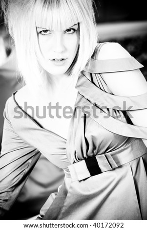 fashion blond woman portrait in black and white - stock photo