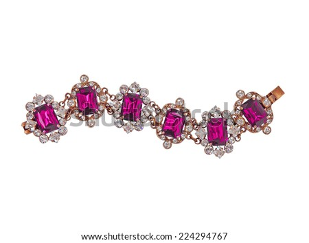fashion bracelet isolated on white - stock photo