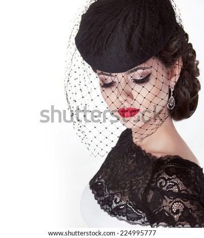 Fashion brunette retro woman portrait in elegant hat with red lips, beauty makeup. - stock photo