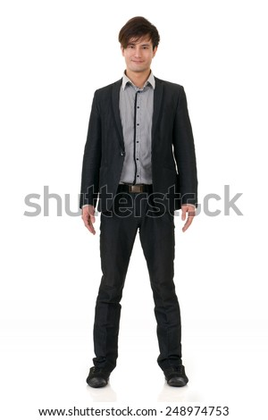 Fashion business man posing with confident expression on face, studio shot on white background with reflection. - stock photo