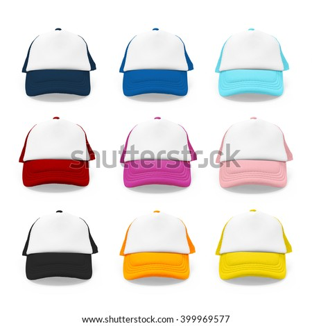 Fashion cap. Cap isolated. Colorful cap. Hat isolated. Sport cap. Baseball cap. Blank cap. Canvas cap. Sport day cap. Modern cap. Cap collection. Cap set. Vivid hat. Cute cap. Kid cap. Fashion hat. - stock photo