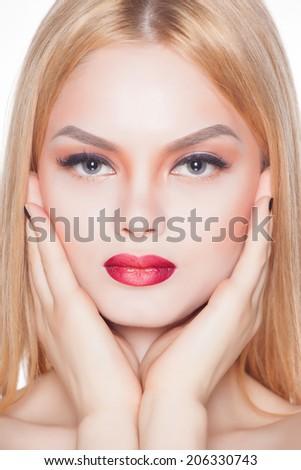 fashion close up portrait of beautiful young blond woman - stock photo