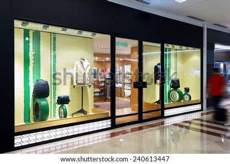 fashion clothes shop storefront - stock photo