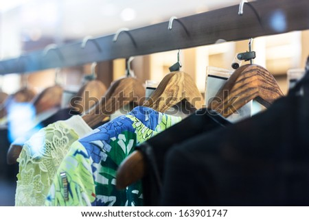 Fashion clothing rack display  - stock photo