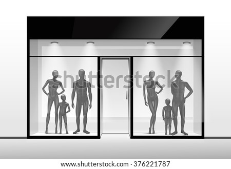 Fashion Clothing Shop Boutique Store Front with Big Window and Mannequins - stock photo