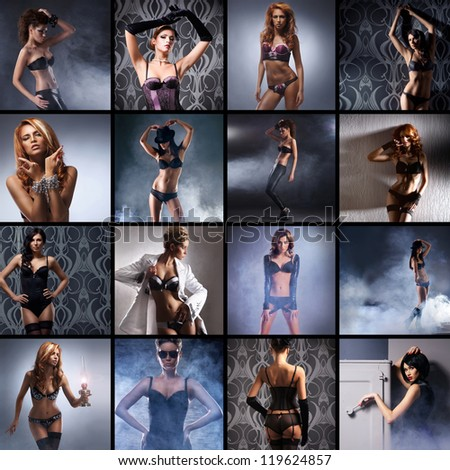 Fashion collage made of many shoots of young attractive women in lingerie - stock photo