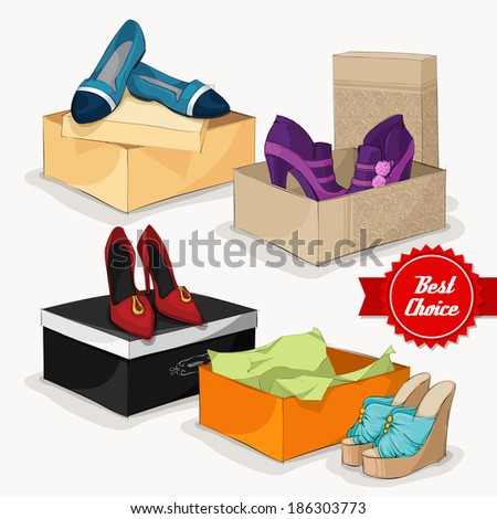 Fashion collection of classic woman's shoes ankle boots sandals and ballet flats with gift boxes isolated  illustration - stock photo