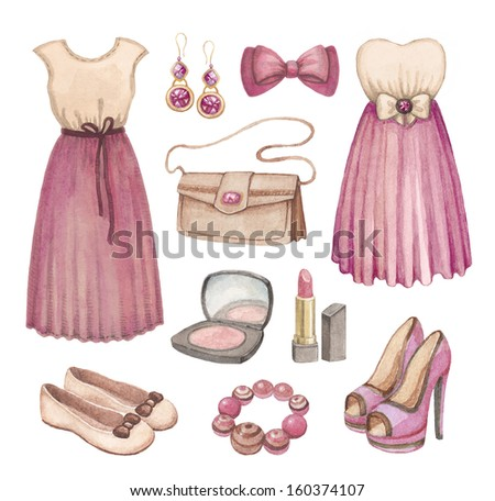 Fashion collection. Watercolor illustrations  - stock photo