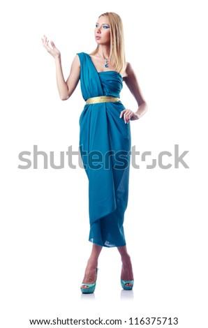 Fashion concept - woman on white - stock photo