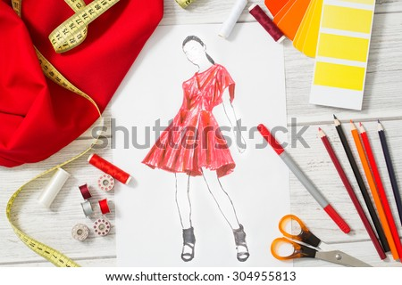 Fashion designer studio with equipment. Close up design. - stock photo
