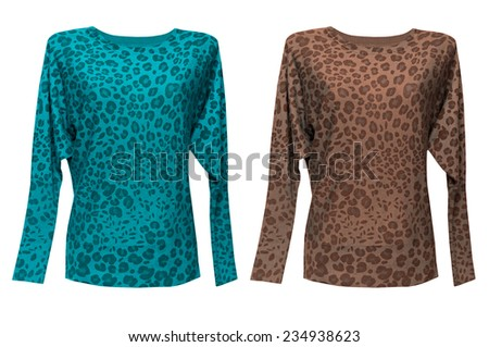 Fashion female sweater isolated on white. Woman top clothes with animal print. - stock photo
