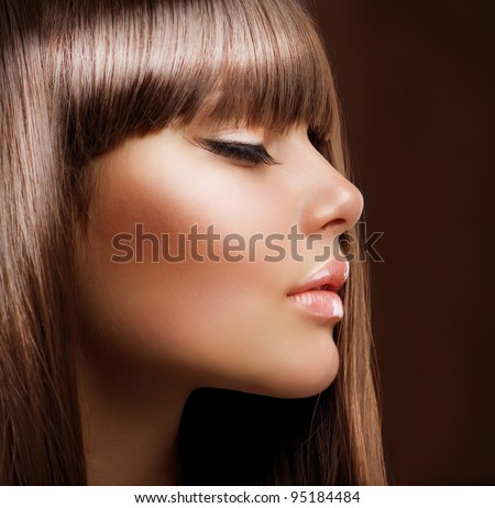 Fashion Girl. Beautiful Makeup and Healthy Hair - stock photo