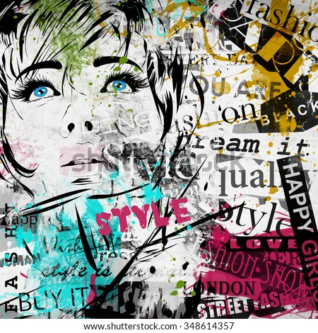 Fashion girl in sketch-style. Grunge illustration. - stock photo