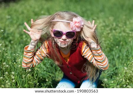fashion girl outdoors - stock photo