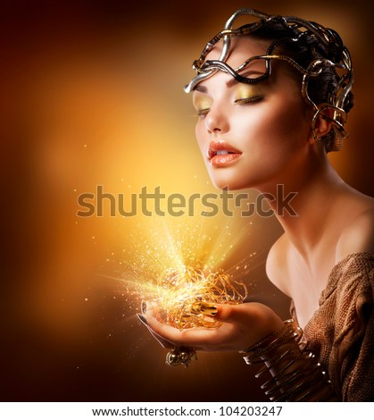 Fashion Girl Portrait. Golden Makeup - stock photo