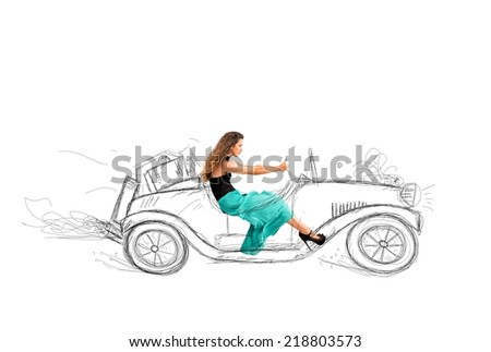 Fashion girl that drives a sketch of car - stock photo