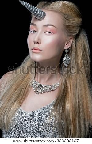 Fashion Girl Unicorn. Fantasy. Woman Unicorn - stock photo