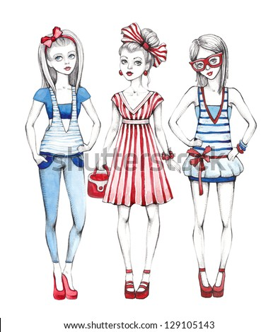 Fashion girls illustration. Line art and watercolor - stock photo