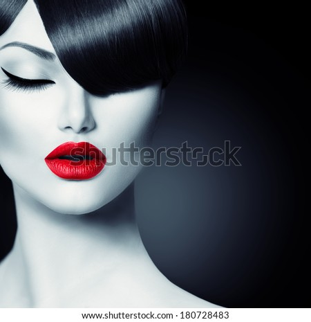 Fashion Glamour Beauty Girl With Fringe Hairstyle and Beauty Makeup. Model Girl Portrait. Hair Style. Haircut. - stock photo