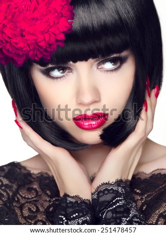 Fashion Glamour Beauty Model Girl with Makeup and bob short Hair. Black hairstyle. Closeup portrait of brunette young woman. - stock photo