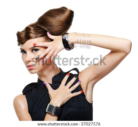 fashion glamour girl with creative hairstyle - white background - stock photo