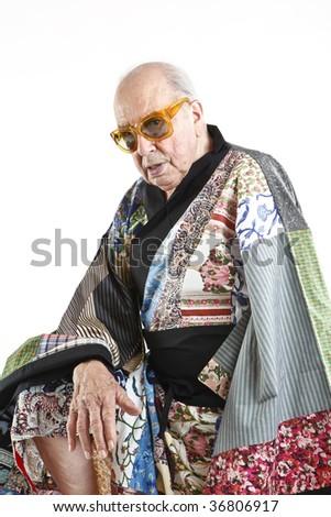 fashion grandpa with kimono - stock photo