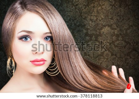 Fashion hairstyle. Beautiful woman with long straight hair. Barbershop. Healthy shampoo. Volume. Beauty. Hair keratin straightening, coloring - stock photo