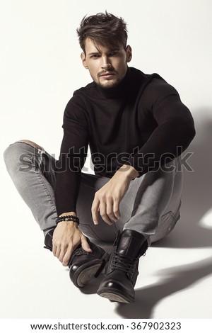 Fashion handsome man  - stock photo