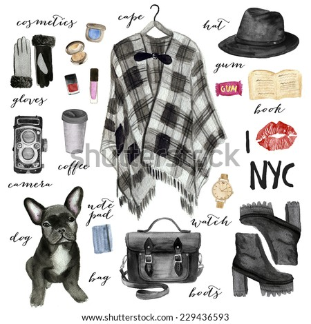 Fashion illustration. New York city style. - stock photo