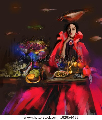 Fashion illustration with girl in red dress, fig and fishes. Still life with cherries and orange.  - stock photo