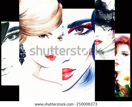 Fashion illustrations collage. Woman face - stock photo