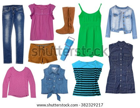 Fashion jeans bright set collage clothes isolated.Female clothing wear collection. - stock photo