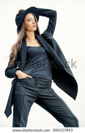 Fashion lady alluring outdoor. Fashion style photo.  - stock photo
