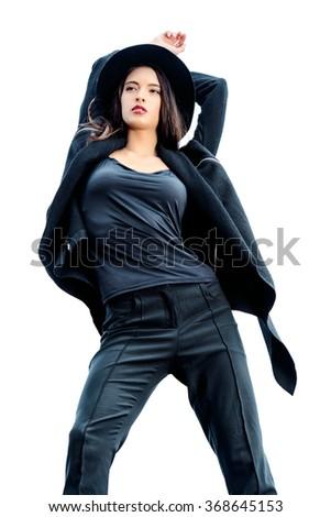 Fashion lady alluring outdoor. Fashion style photo.  - stock photo