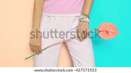 Fashion Lady in glamorous summer clothes with stylish Accessories. Summer, vanilla fresh - stock photo
