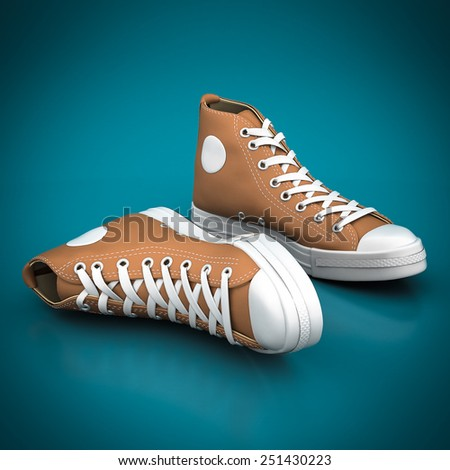 Fashion leather shoes on a blue background - stock photo
