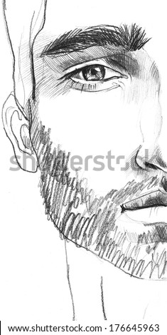 fashion man face. hand painted illustration. Charming and handsome man half face close up - stock photo