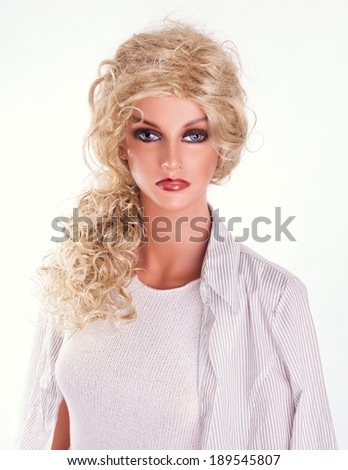 fashion mannequin, dummy, white background - stock photo