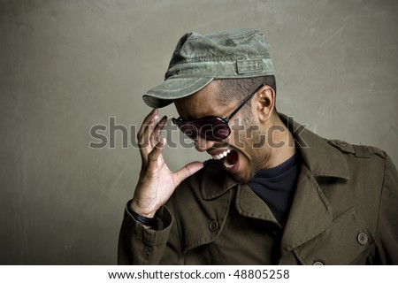 Fashion model displays frustration and screams - stock photo